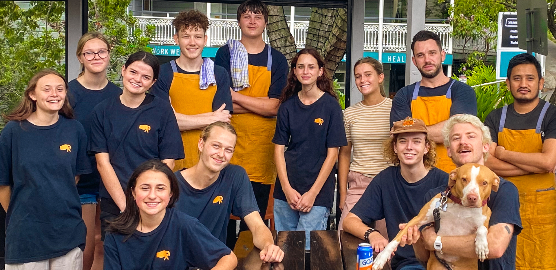 The remy's front of house & kitchen staff, together in the front courtyard