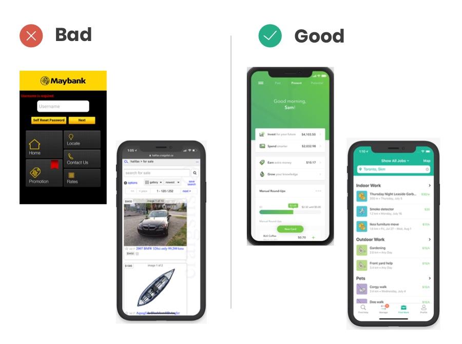 Good vs bad designs in mobile