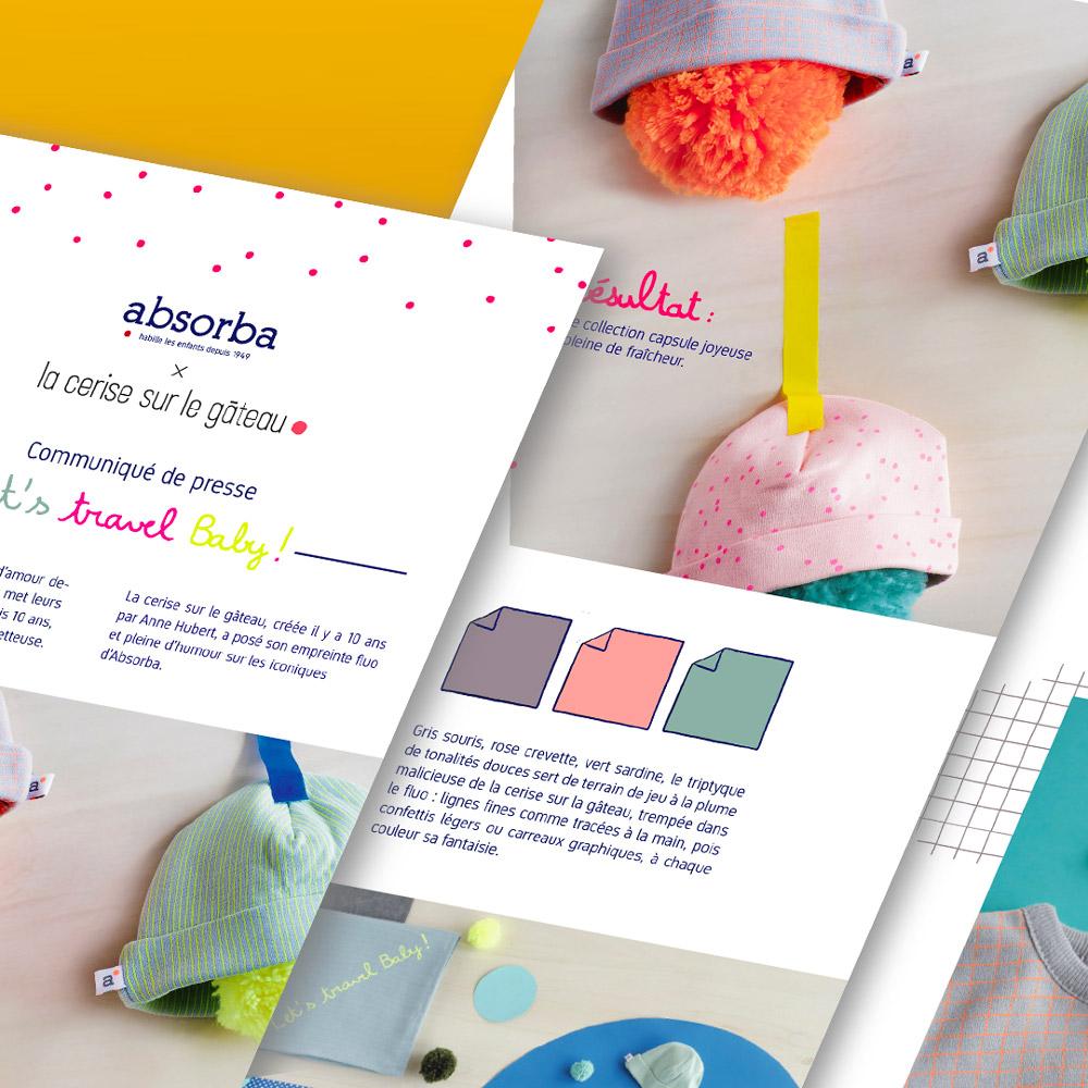 Image du projet de mise en page d'un communiqué de presse pour les marques Jean Bourget et Absorba