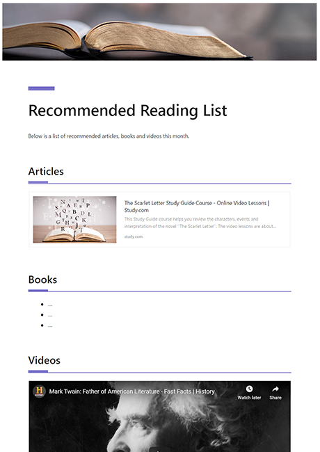 Recommended Reading Template