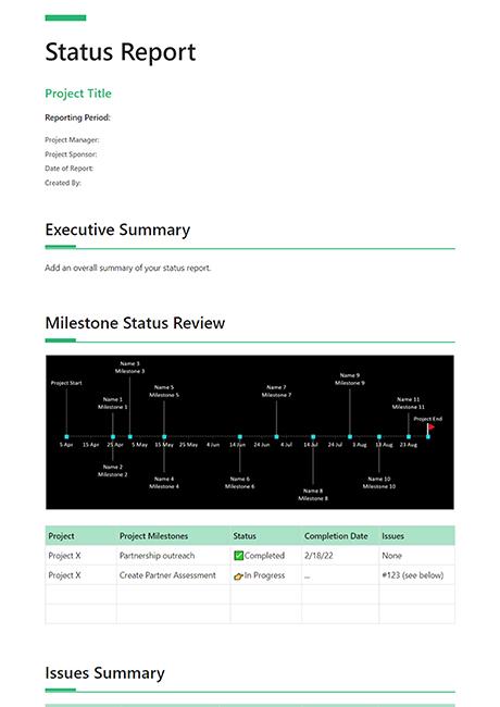 Status Report Template