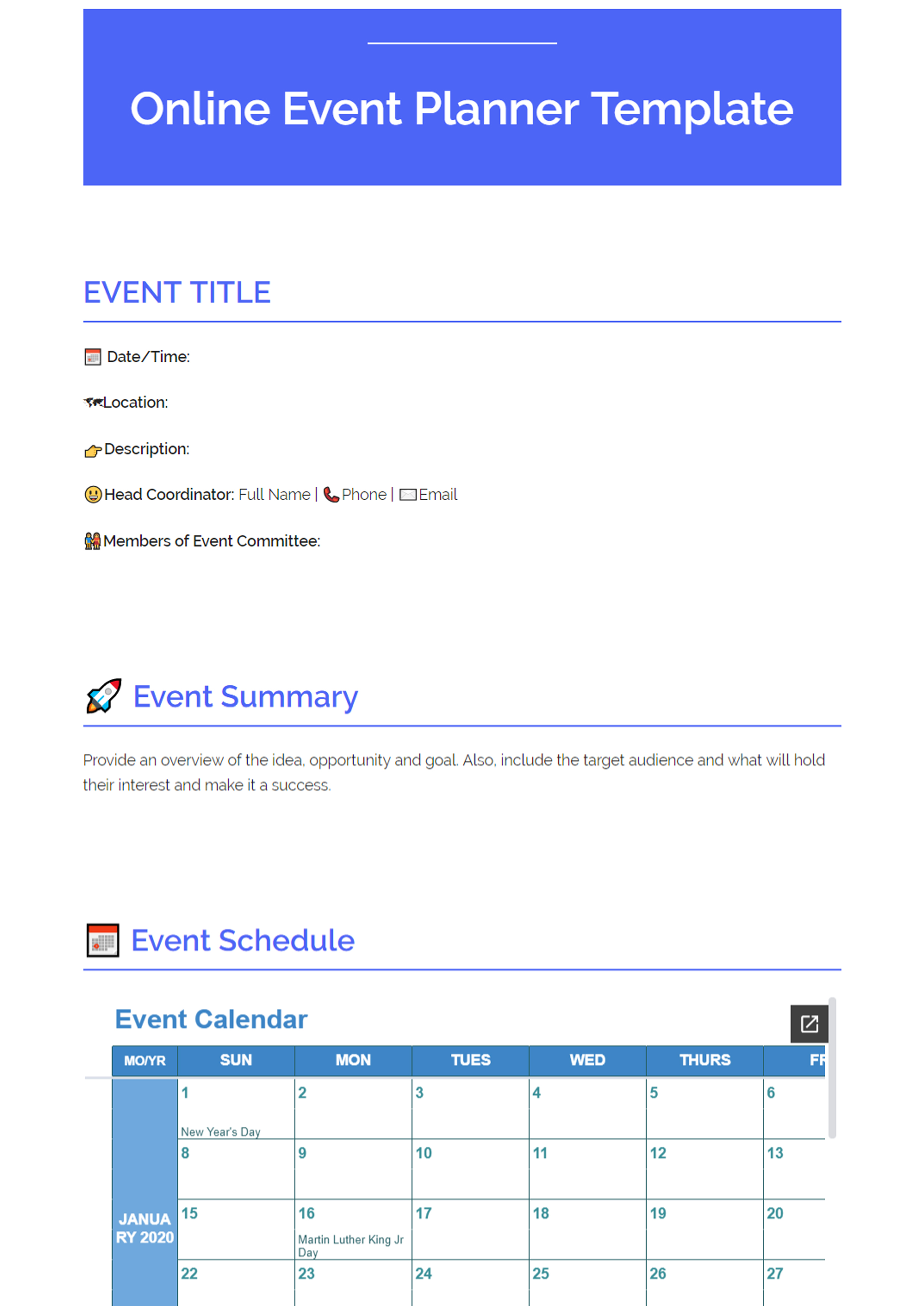 Online Event Planning Template