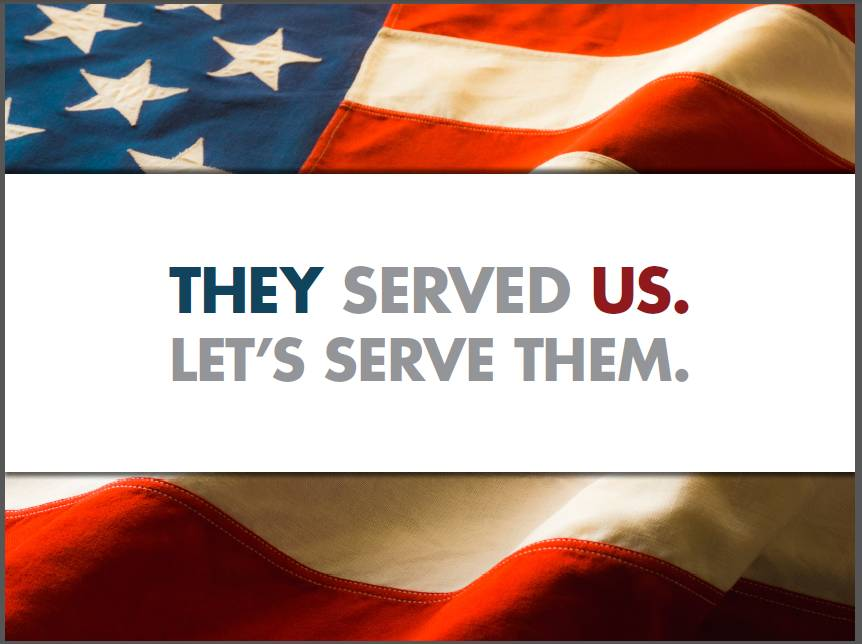 'they served us, let's serve them' graphic