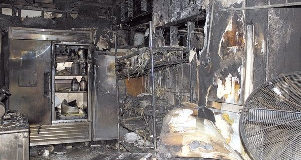 kitchen after fire damage