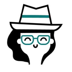 Pictogramme de visage de femme avec des lunettes vertes
