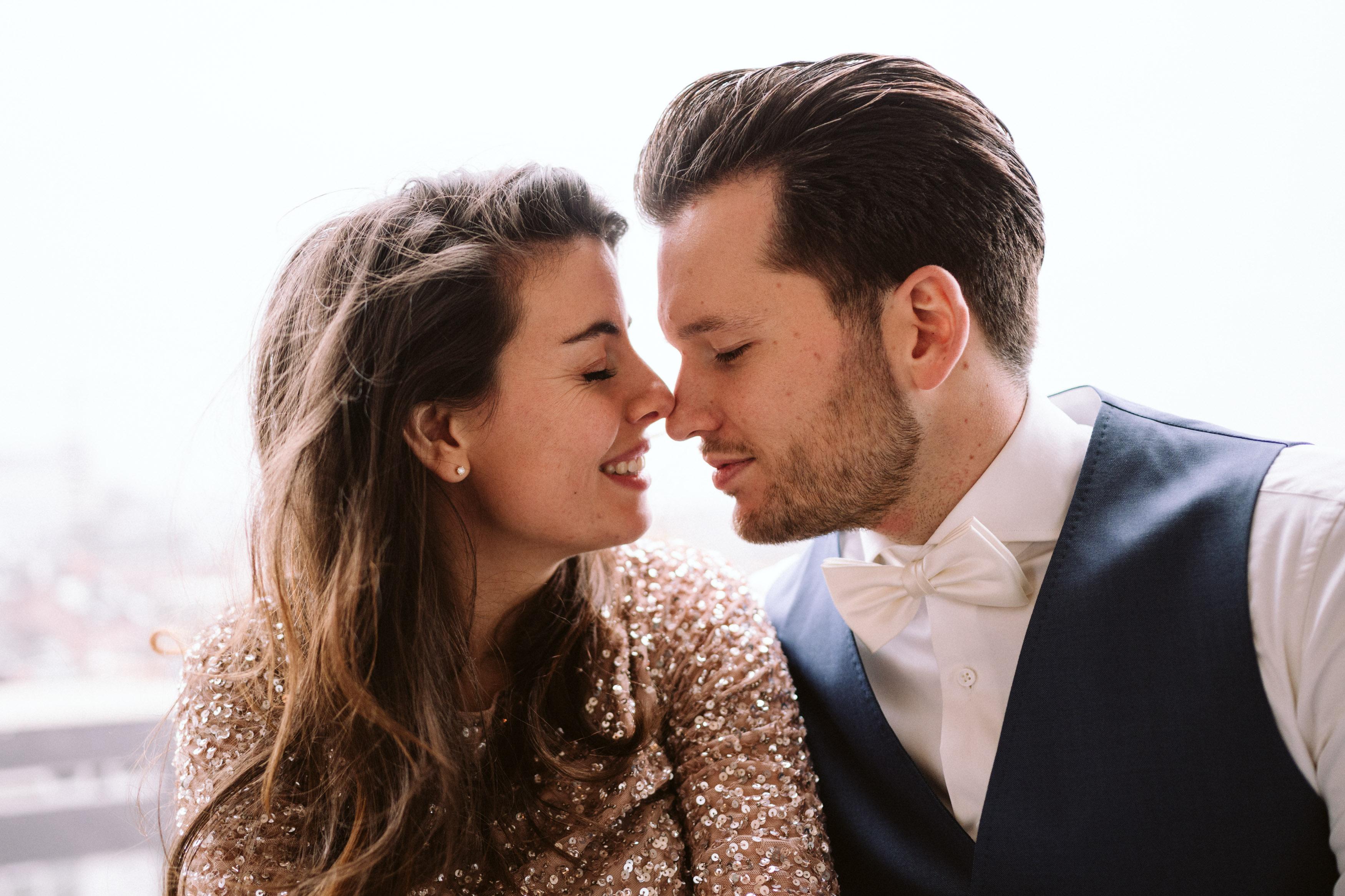 romoantic couple close-up
