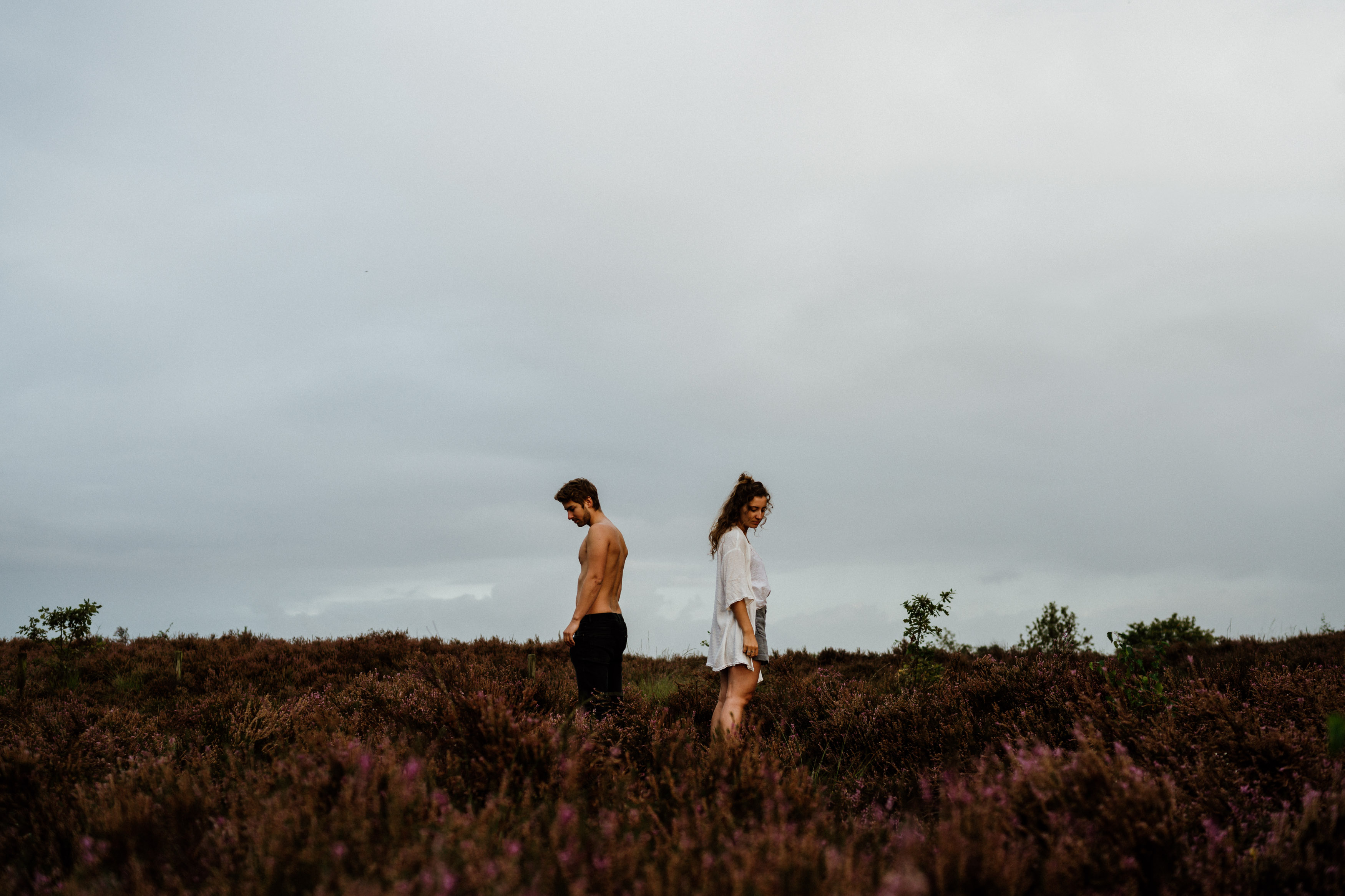 cinematic couple in fields