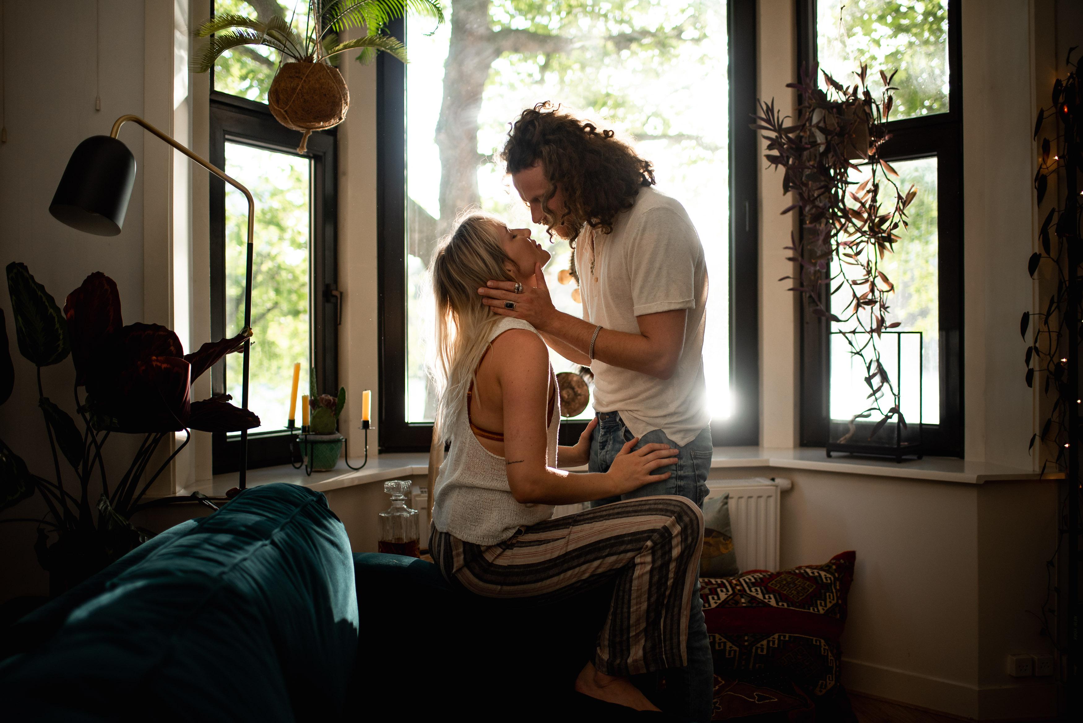 romantic couple portrait at home