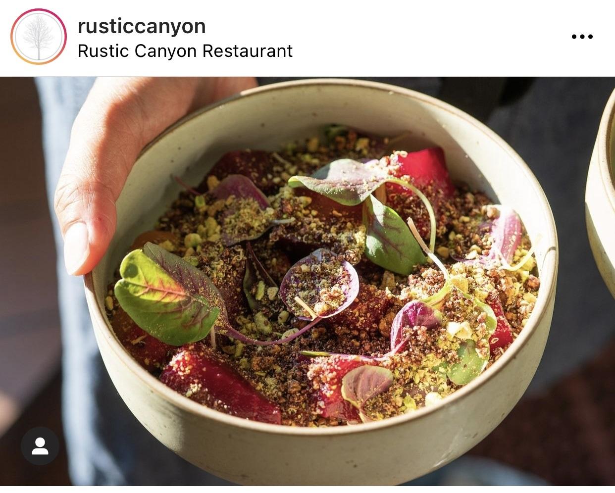 Rustic Canyon quinoa bowl Instagram post