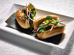 Banh Mi sliders on a white platter