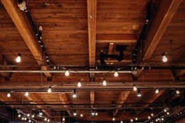 the rafters and track lighting at melrose market studios