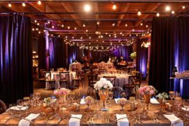 A fully set dinner reception prepared for guests at melrose market studios