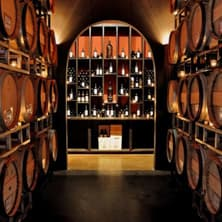 A wine cellar with barrels and bottles of wine