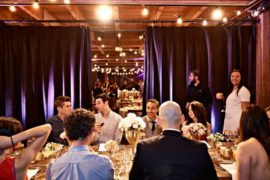 A dinner service for guests at a party in Melrose Market Studios