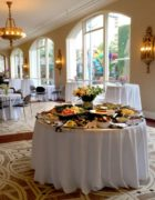 appetizer buffet set with food in ACT's event space, buster's space