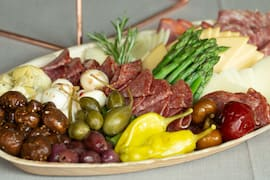 An antipasti food tray