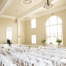 light-filled Hall set up for a ceremony