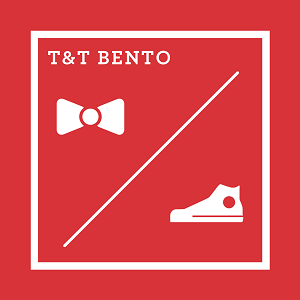 Red T&T Bento logo with bow tie and tennis shoe