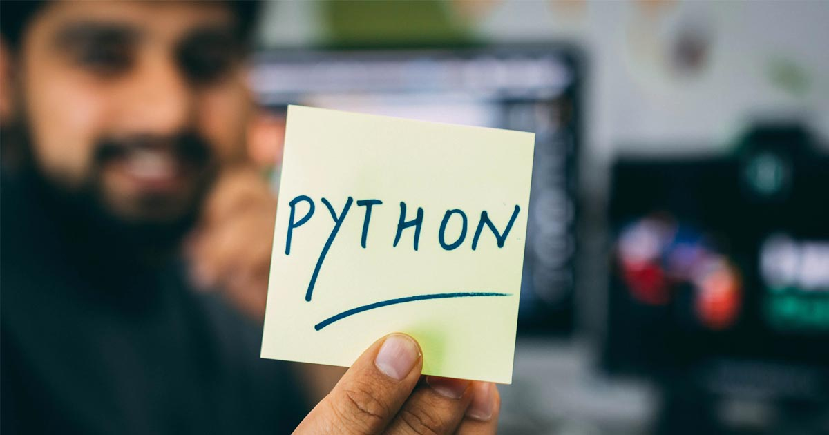 sticky note with the word python on it