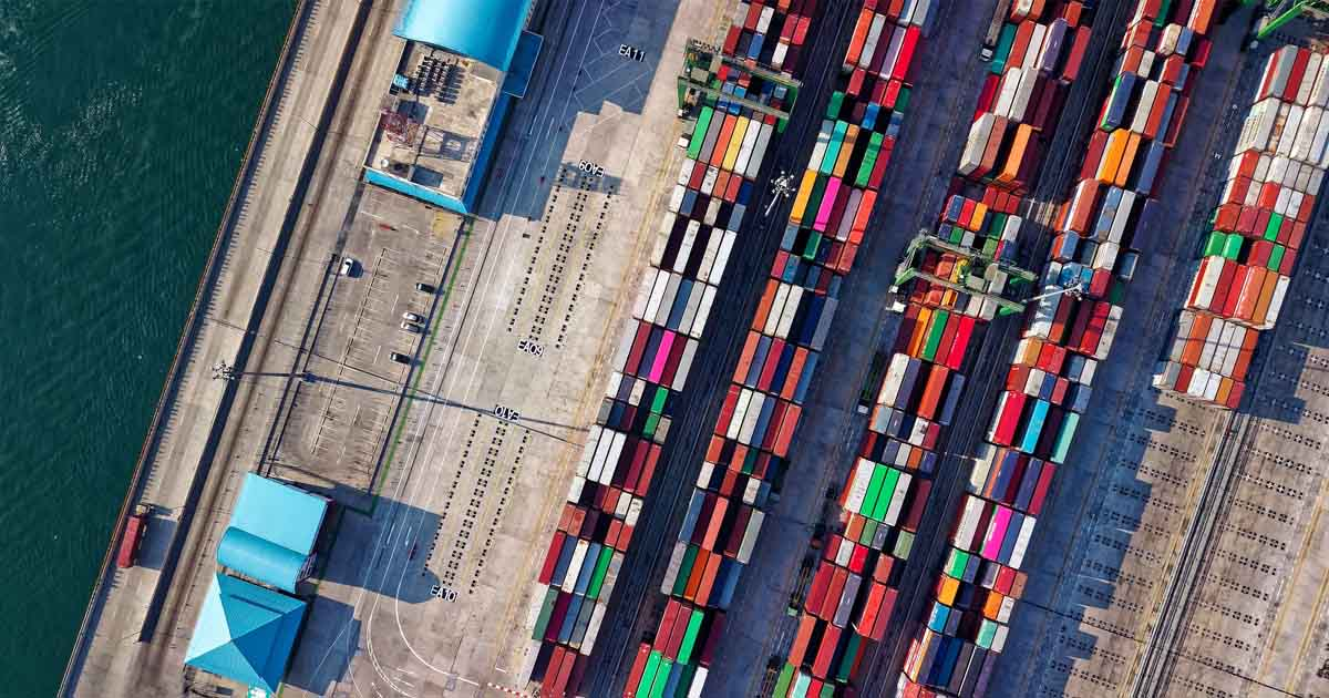 topdown view of containers in a shipyard