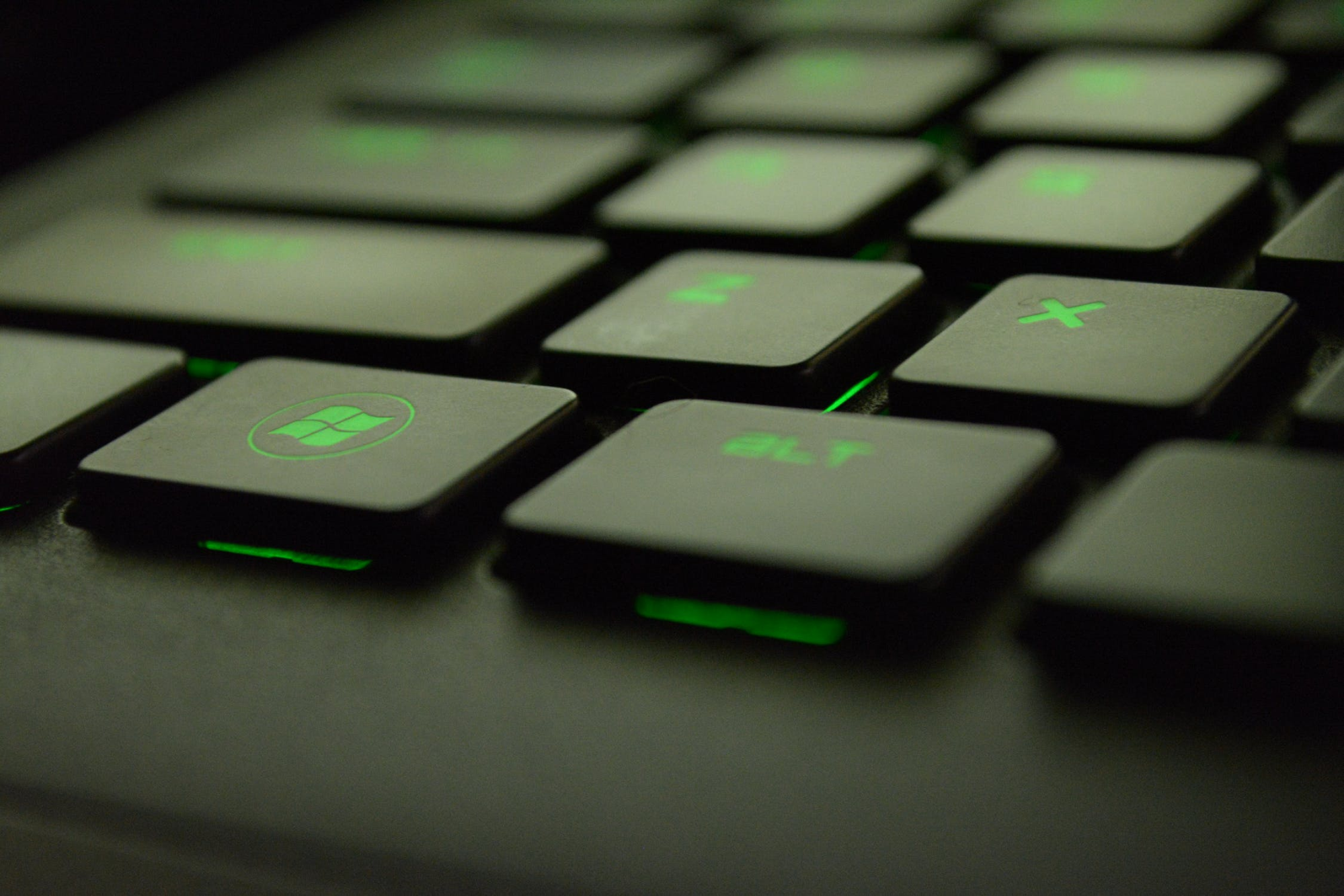 keyboard with green light