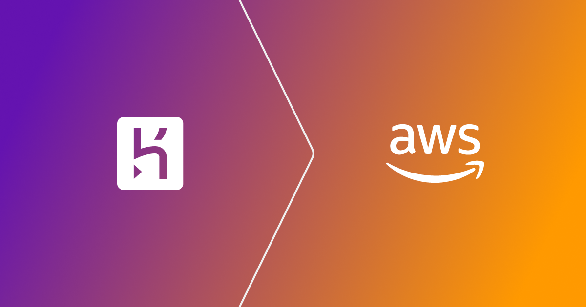 heroku logo pointing at the aws logo