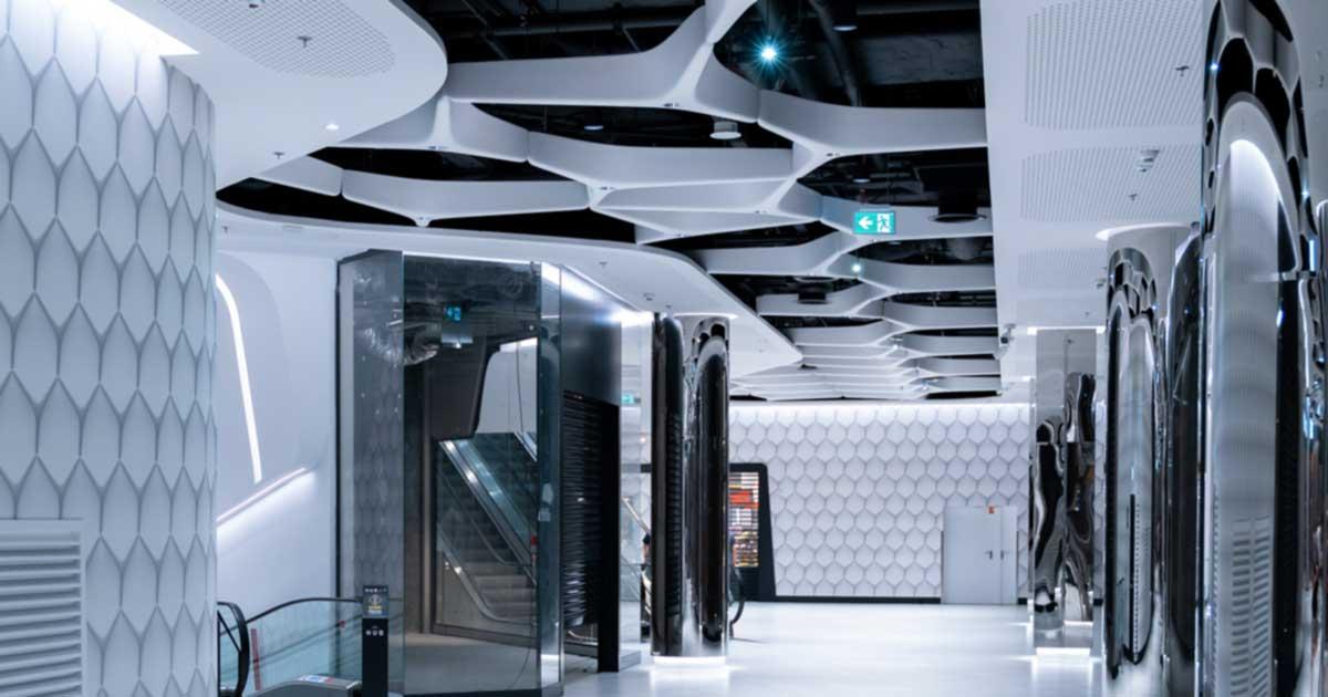 futuristic office hallway