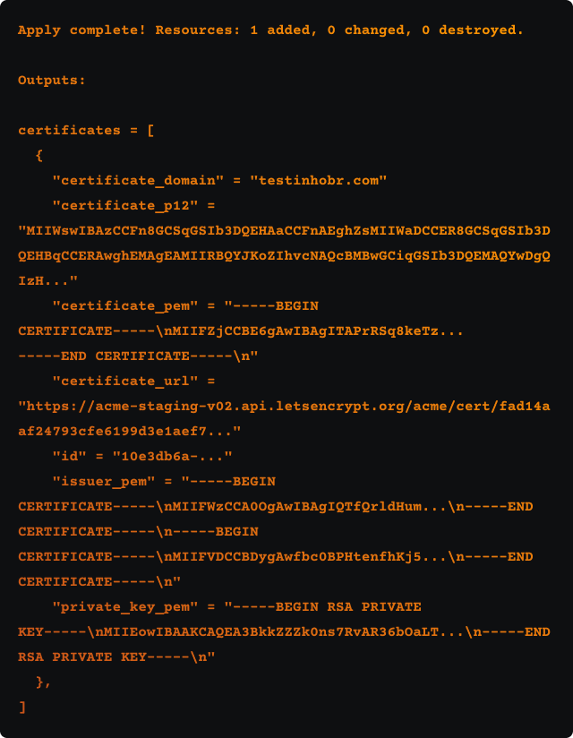 SSL output from gitab