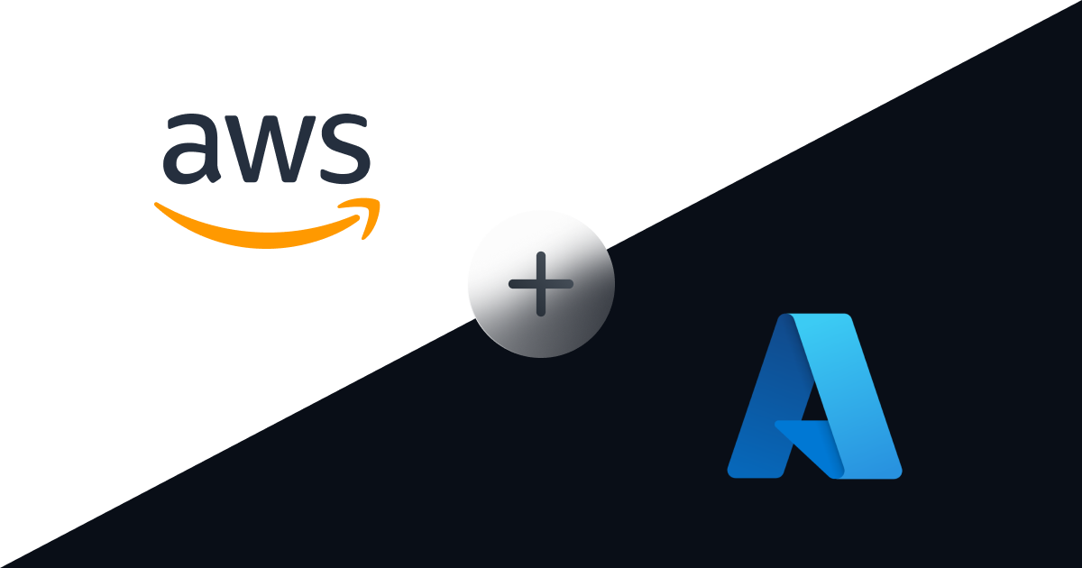 aws logo and azure logo being added together with an icon