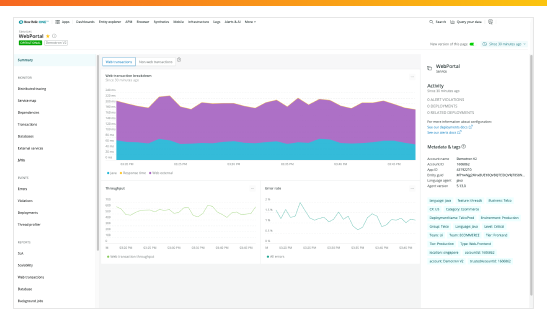 New Relic Monitoring Dashboard