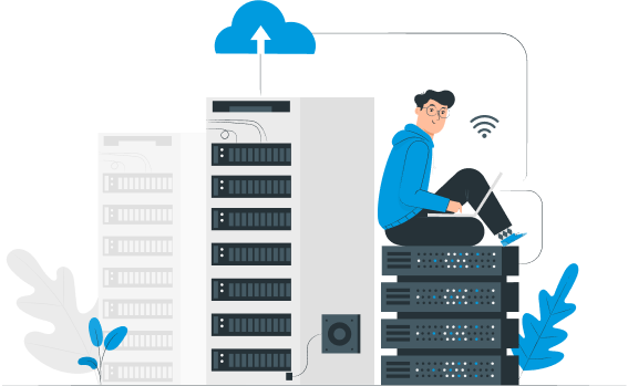 Illustration of a person sitting on servers