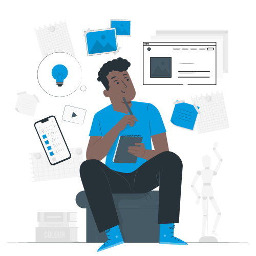 Illustration of a person thinking about tech