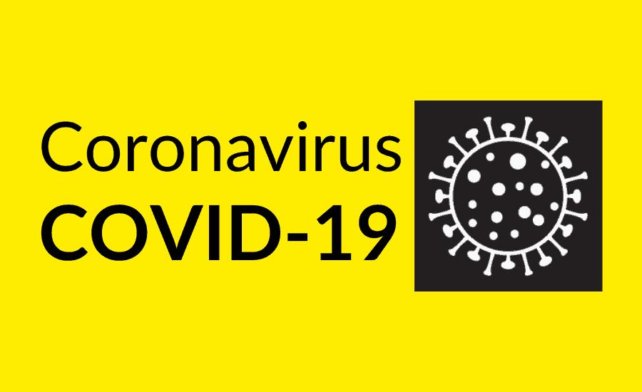 Coronavirus symbol and text