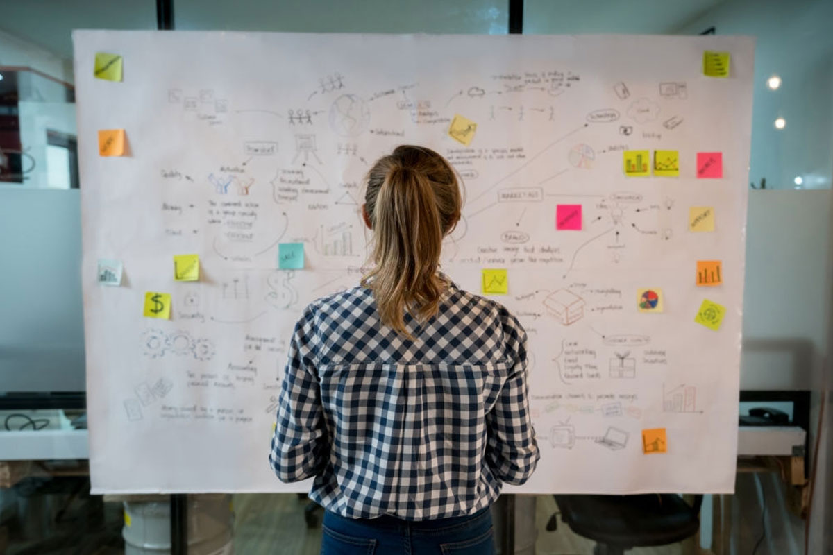 Woman watching over a whiteboard full of sticky notes