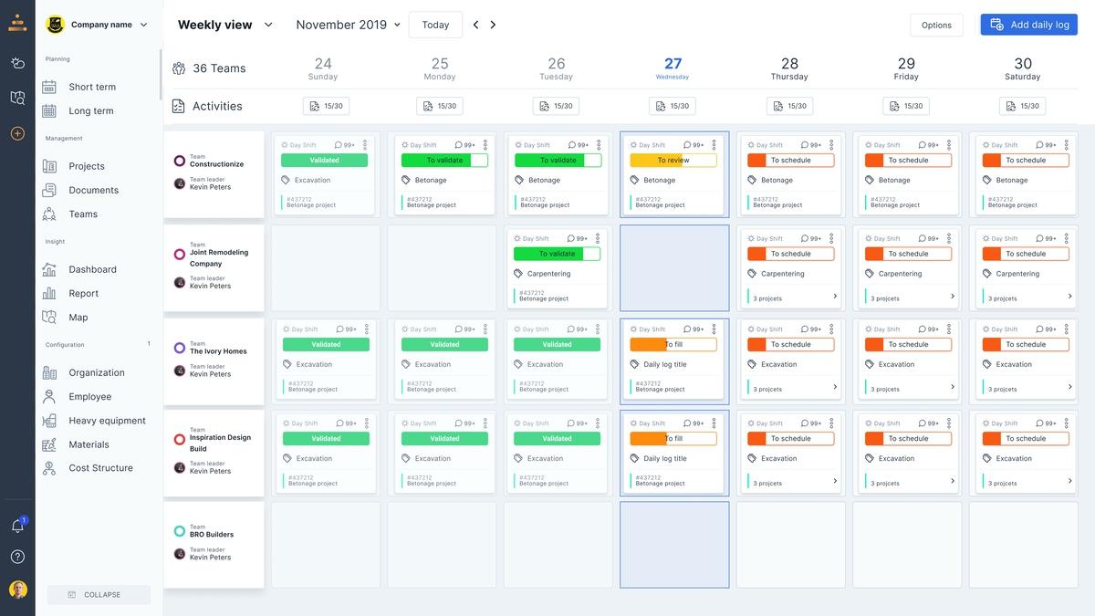 Capture d'écran des fonctions de planification