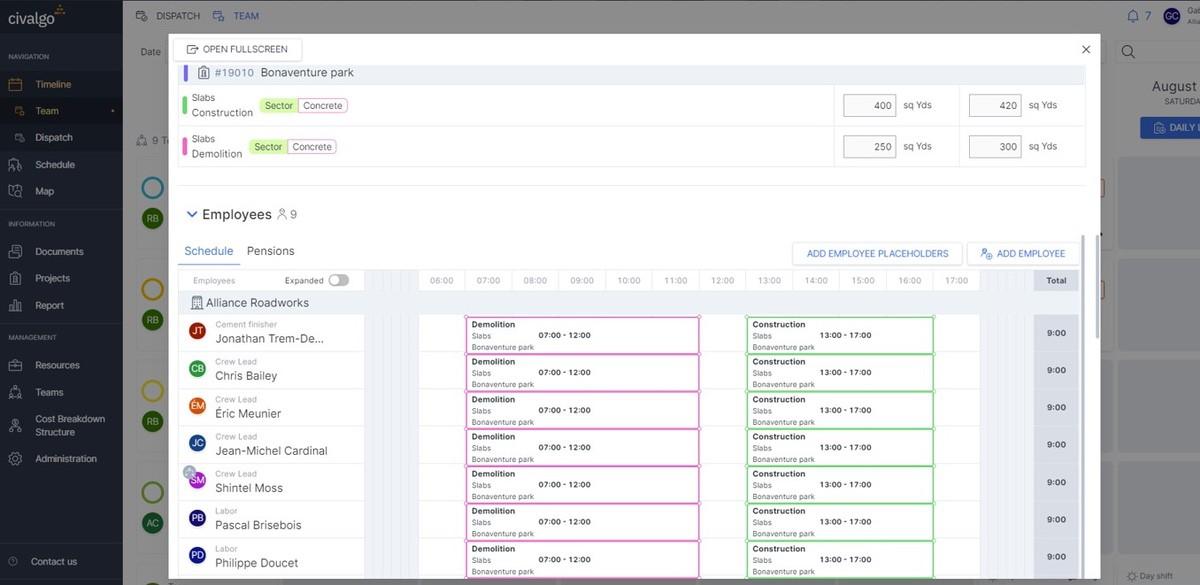 Capture d'écran de la fonctionnalité d'exécution des champs