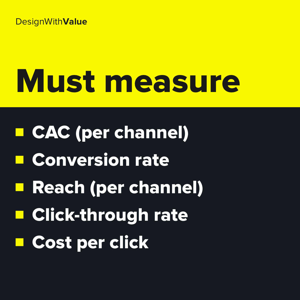 List of metrics: CAC, conversion rate, reach per channel, click through rate, cost per click