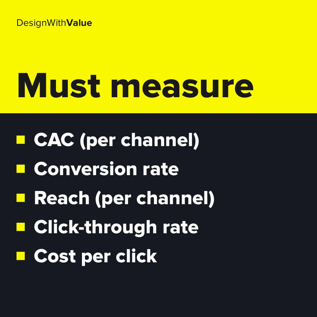 List of metrics: CAC, conversion rate, reach per channel, click through rate, cost per click