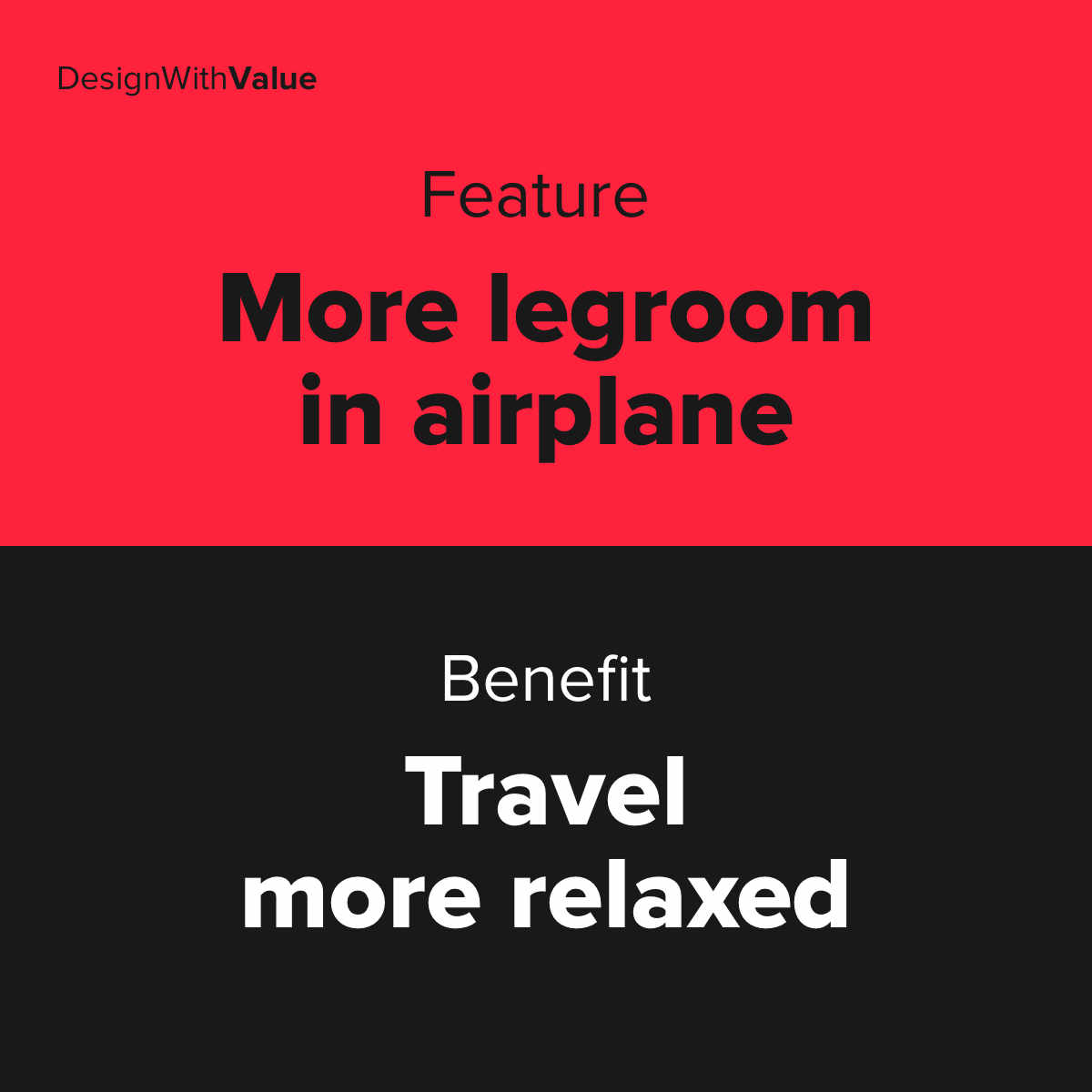 Feature example: More legroom in airplane. Benefit example: Travel more relaxed.