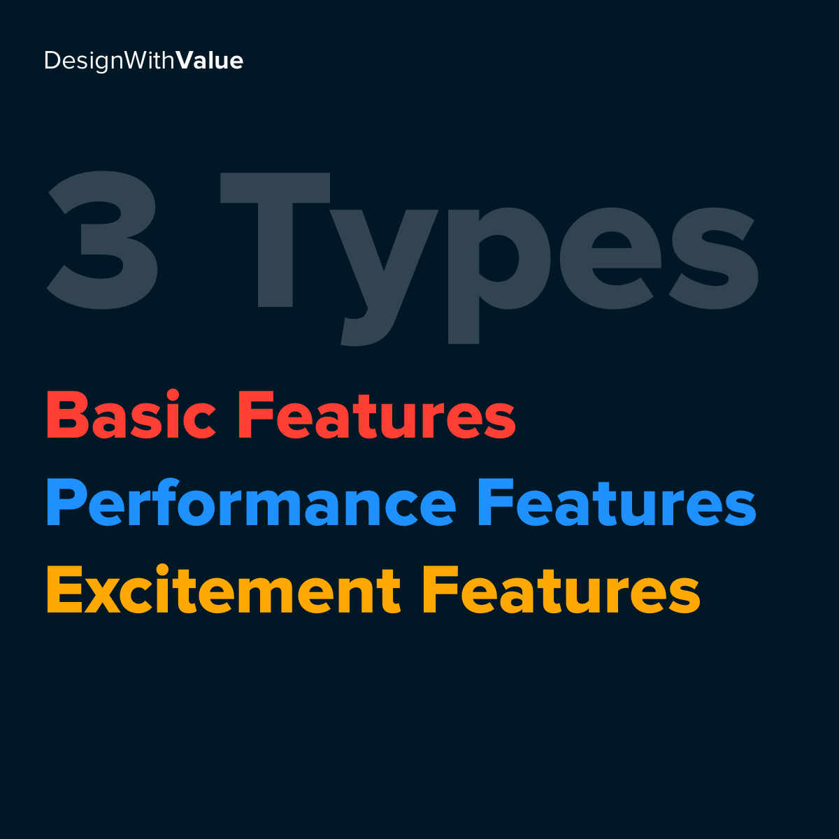 3 types: Basic features, performance features, excitement features.