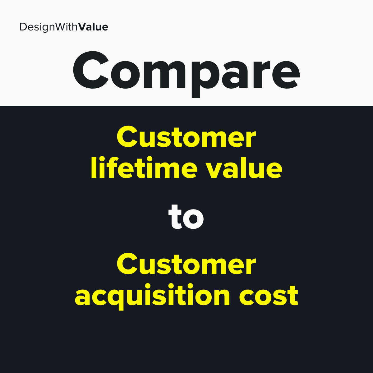 Compare customer lifetime value to customer acquisition cost.