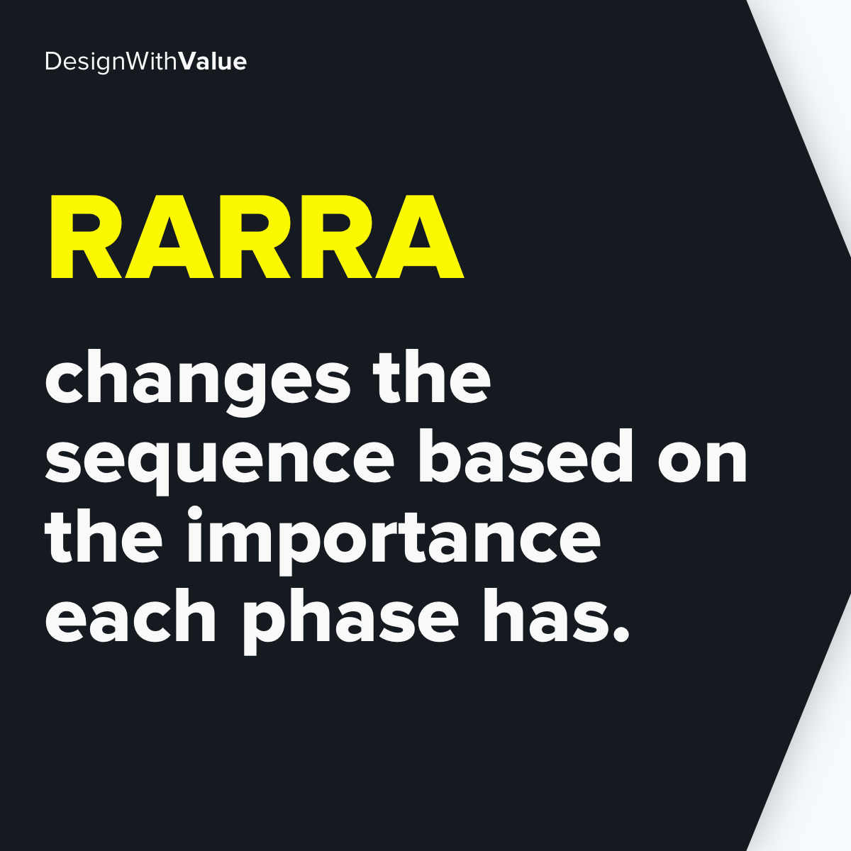 RARRA changes the sequence based on the importance each phase has.
