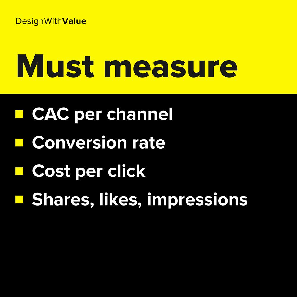 CAC per channel, conversion rate, cost per click