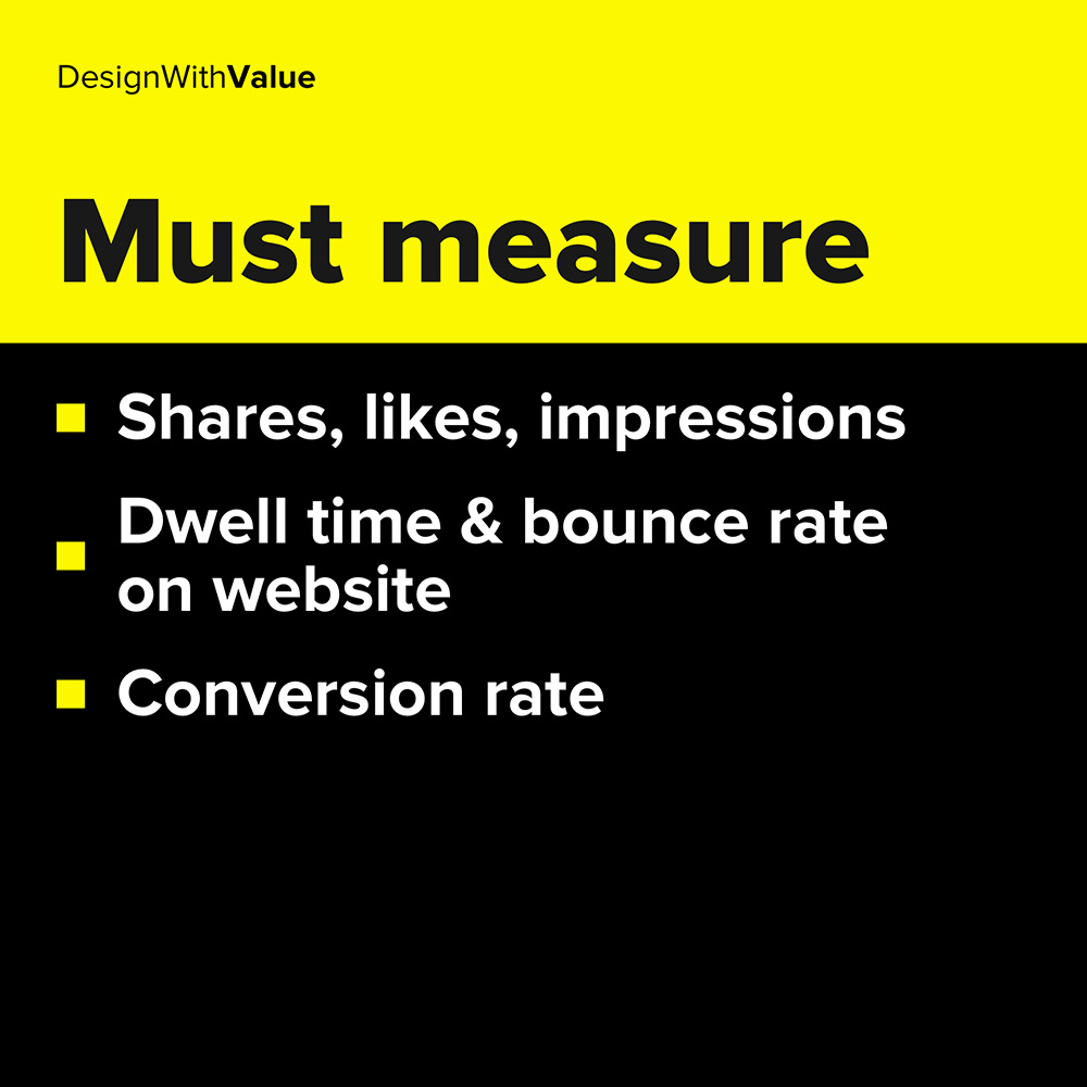 shares, likes, impressions, conversion rate