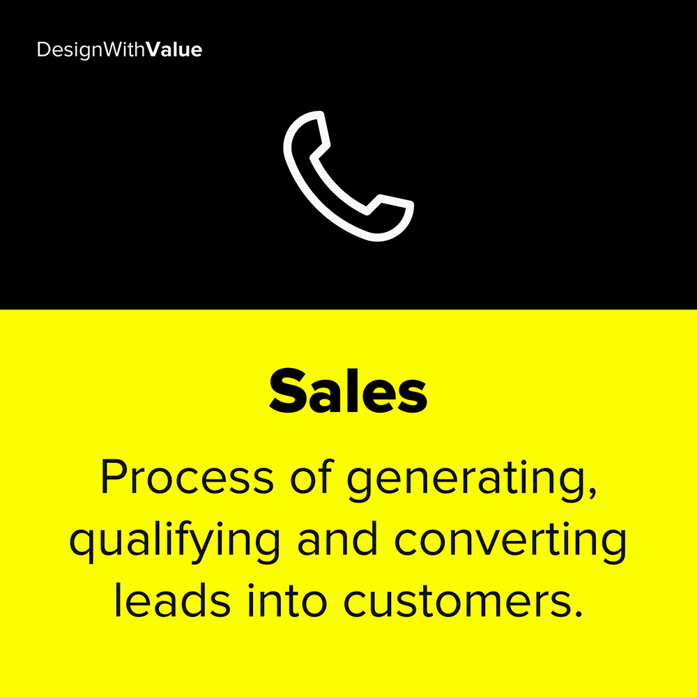 sales is the process of generating, qualifying and converting leads into customers