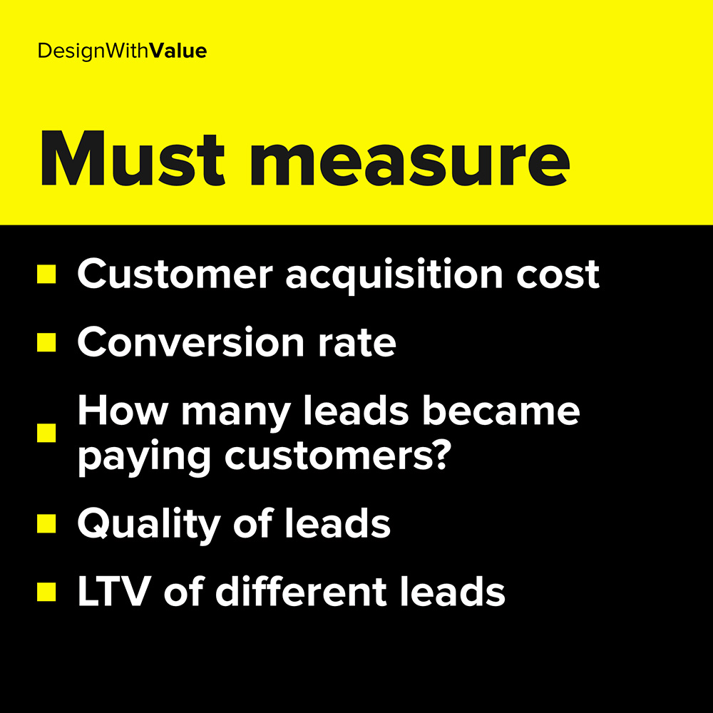 conversion rate, how many leads became paying customers, quality of leads