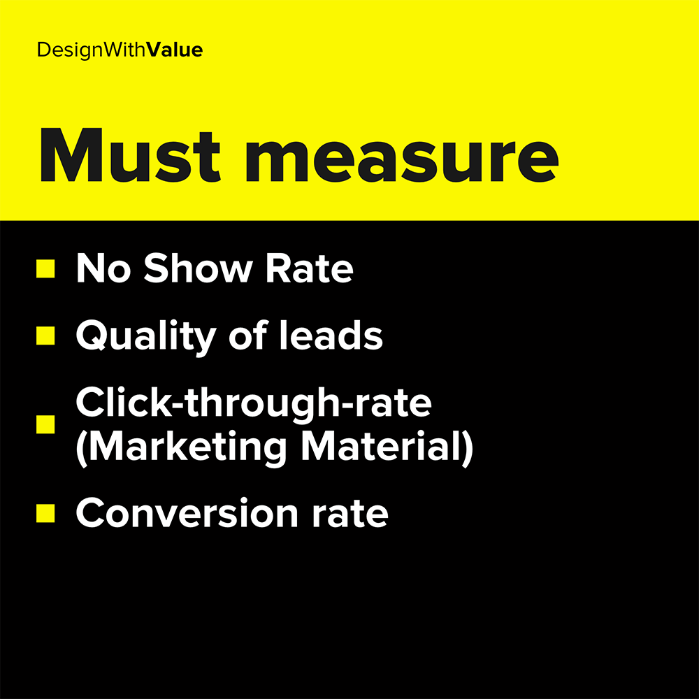 no show rate, quality of leads, conversion rate