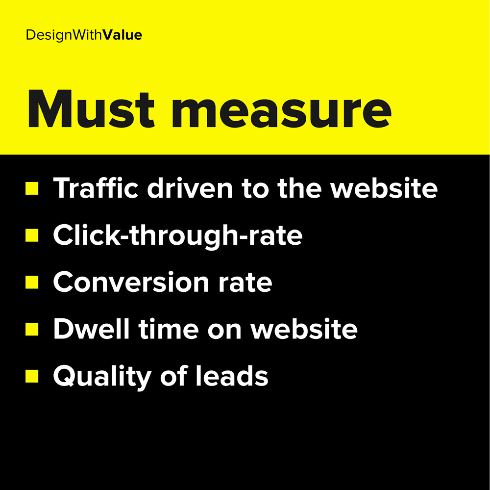 traffic driven to website, conversion rate, quality of leads