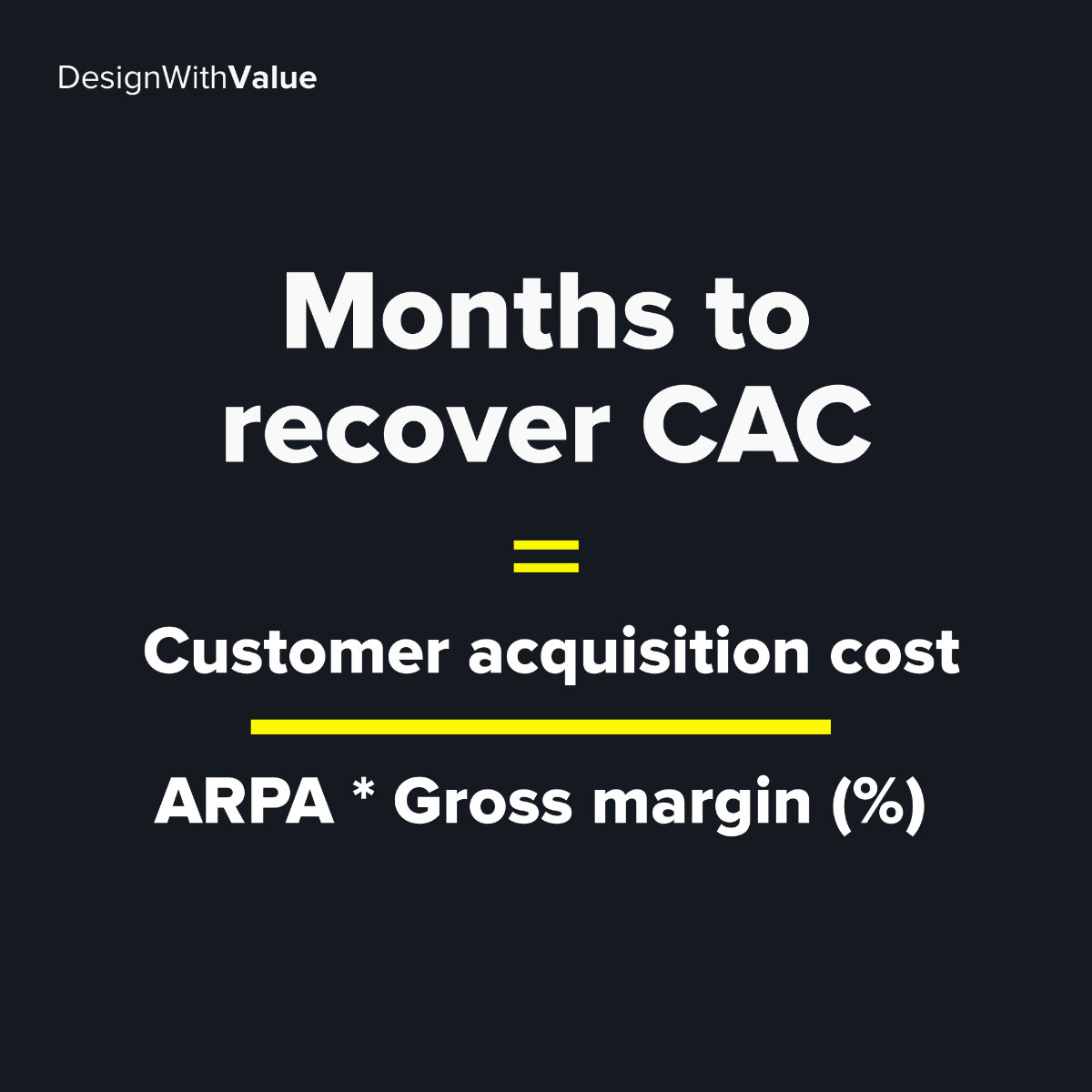 Months to recover CAC calculation