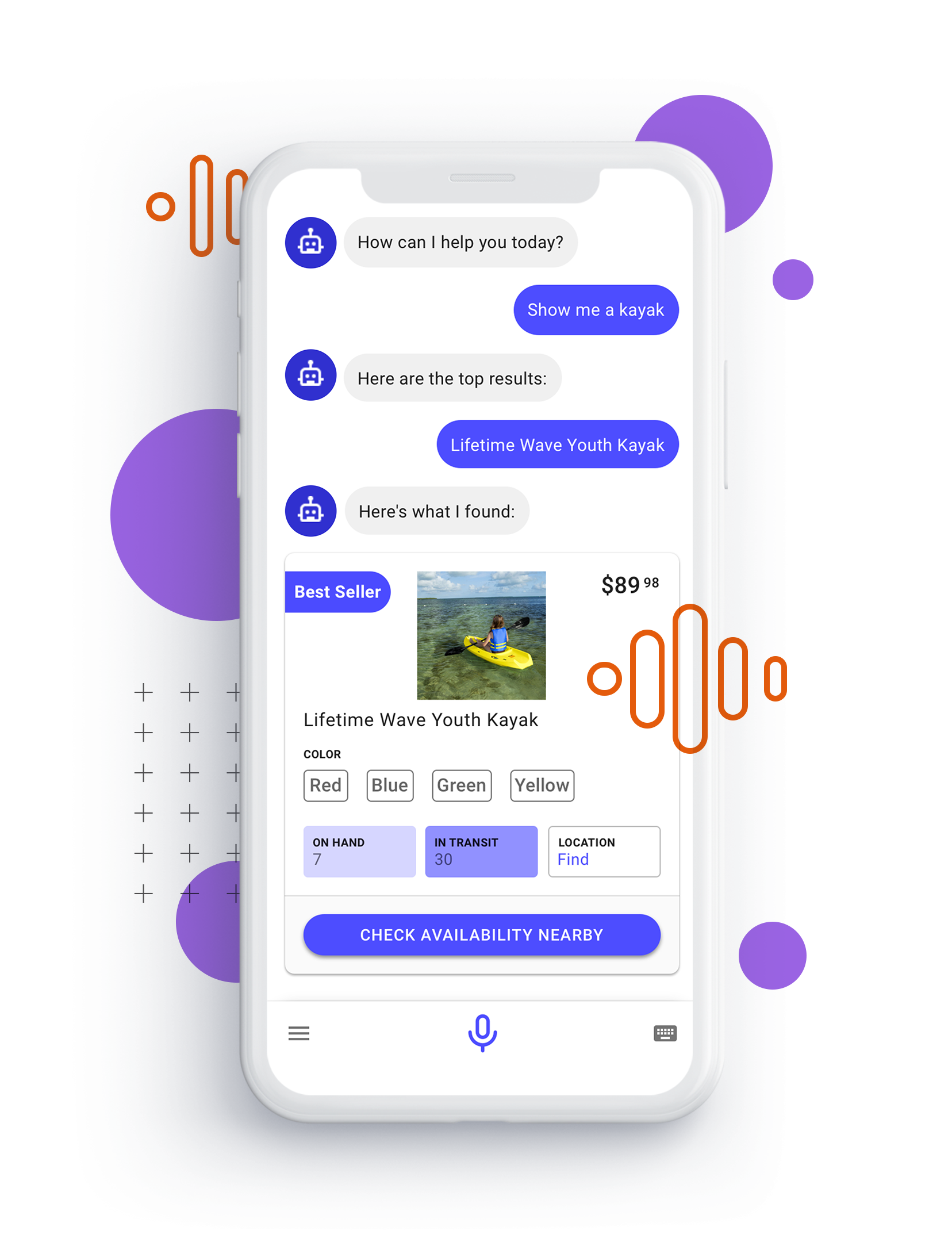 Mobile phone with chat bot messaging user interface